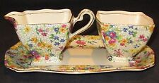 Royal Winton Chintz Fireglow Creamer & Open Sugar with Tray