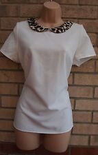 DOROTHY PERKINS WHITE LEOPARD COLLAR BAGGY FORMAL BLOUSE TUNIC TOP VEST 12 M