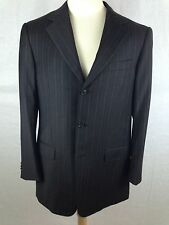 Recent Ermenegildo Zegna Suit 40R Wool Silk Dark Brown Stripe Dual Vent