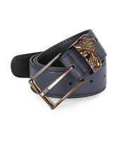 Versace Collection Medusa Keeper Navy Leather Belt sz US 40 / IT 100-115 $525