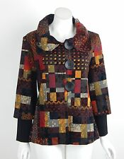 New Joseph Ribkoff Jacket Blazer Red Black Multi Print 3 Button Front Size 8 NWT