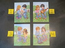 LOT OF 4 VINTAGE W M OTTO BOY GIRL Flower Child Children LITHOGRAPHIC PRINT SET