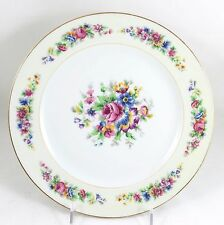FAB FULL SET 12 DINNER PLATES ANTIQUE AHRENFELDT LIMOGES CHINA GOLD WHITE FLORAL