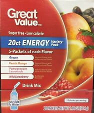 2 Boxes Of Great Value Sugar Free, Low Calorie  ENERGY Variety Pack Drink Mix