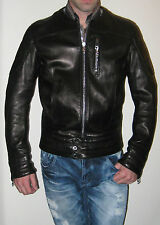 VALENTINO Black Crew Neck Leather Bomber Jacket- Italian Size 48/US Size 38