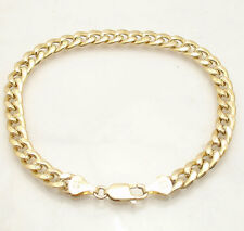 "10"" 8mm Semi Solid Curb Cuban Chain Ankle Bracelet Anklet Real 14K Yellow Gold"