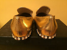 NIB MCM GOLD WITH CRISTAL STONES HEEL SHOES SIZE 38/7