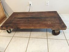 """Antique Railroad Trolley Steampunk Industrial Factory Cart Coffee Table 48"""" X 30"""