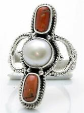 Red Coral, Pearl Ring Solid 925 Sterling Silver Jewelry Size 7.5 IR25874