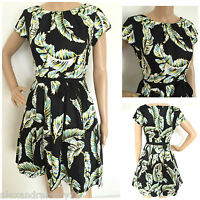NEW EX DOROTHY PERKINS BLACK BLUE GREEN WHITE FEATHER FIT FLARE DRESS 8 - 22