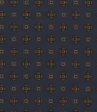 Emblem Diamond Square Country Navy Blue Vintage Retro 1 Double Roll Wallpaper