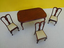 Miniature Dollhouse Cherrywood Victorian Table and 3 Chairs VGC ***FAST S/H***