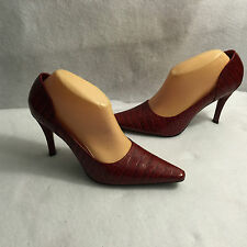 Enzo Angiolini High Heel Stiletto Pumps Red Snake Print Leather Womens Size 9 M