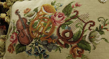 """20"""" Vintage Needlepoint Pillow Violin French Horn Harp Rose & Lily"""
