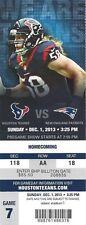 2013 NFL NEW ENGLAND PATRIOTS @ HOUSTON TEXANS FULL UNUSED FOOTBALL TICKET