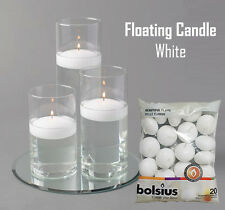 White Floating Candle Pack of 20 Bolsius Long 4.5 Hours Burn Time Dinner Decor