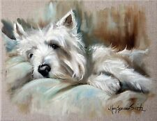 MARY SPARROW Westie West Highland Terrier Dog Puppy Oil Painting PRINT MSSMITH