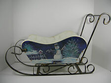 "Snowman Wood Sleigh Sled w Metal Runners/Handle Christmas Decor 23"" x 15"" Floral"