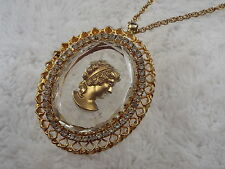 Goldtone Rhinestone Crystal Lady Head Intaglio Cameo Pendant Necklace (B6)