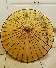 "CHINESE JAPANESE ORIENTAL Vintage UMBRELLA  32"" IN DIAMETER RICE PAPER Print"