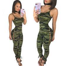 New camouflage military lace up leg jumpsuit club wear casual wear size UK 10