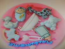 Baby Shower Christening Birthday Silicone Mould Mold Cup Cake Toppers sugarcraft