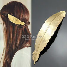 Goddess Gold Curved Feather French Updo Hair Pin Clip Dress Snap Barrette Top
