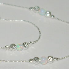 Sterling Silver 925 Chain, Laser Cut and WHITE OPAL Beads ANKLET - Your Size