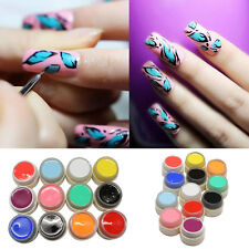 12 Pure Colors Shiny Extension Nail Art UV Gel Builder Tips Glue Manicure Decor