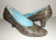 Thierry Rabotin Snakeprint Leather Round Toe Pumps - Made in Italy - Size 8