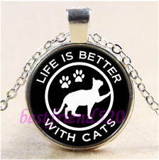 Life Is Better With Cats Cabochon Glass Tibet Silver Chain Pendant Necklace#F74