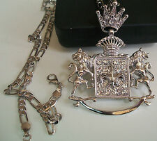 Silver Finish Hip Hop Bling Crown/Lion Fashion  Pendant w/24'' Chain