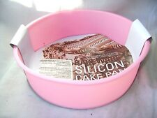 NEW SILICONE ROUND SPONGE CAKE BAKING TIN MOULD NON STICK 18CM PINK