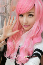 Women Girls Long Wavy Curly Hair Cosplay Wig Party Anime Full Wigs Pink+White