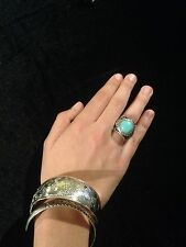 Ring Big Silver Turquoise Hippie Boho  Gypsy Bohemian Belly Dance Tribal