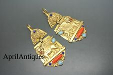 Askew London egyptian revival jewelled gold-plated earrings