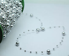 5m Pearl Garland String Acrylic Beads Plastic Garland Wedding Table Decor Silver