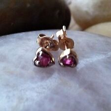 VINTAGE RED RUBY SOLITAIRE HEART STUD EARRINGS 10K YELLOW GOLD