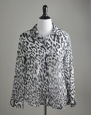 CHICO'S NWT $89 Winter Wild Wonda Leopard Print Sheer Shirt Top Size 2 Large