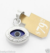 Greek Key Evil Eye Good Luck Charm Pendant Real Solid 925 Sterling Silver