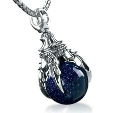 925 Sterling Silver Synthetic Blue Crystal Dragon Alondra Necklace Pendant