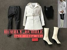 1/6 Women Leather Trench Coat Set WHITE For Phicen Hot Toys Figure SHIP FROM USA