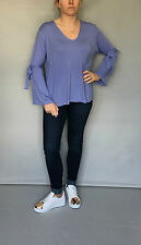 NEW LILAC PURPLE JERSEY VISCOSE WRIST TIE STRAP TUNIC TOP WITH V NECK - ONE SIZE