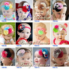 12pcs/lot Mix Girls Baby Kids Infant Toddle Headband Chiffon Flower Elastic Hand