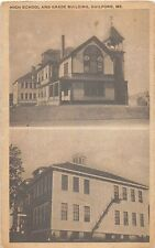 GUILDFORD MAINE HIGH SCHOOL AND GRADE BUILDING MULTI PHOTO POSTCARD c1910s