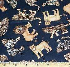 Jungle Animals Tigers Lions Leopards Fabric By Yard 100% Cotton RJR Dan Morris