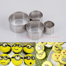 Hot 4pcs Round-Shape Metal Cookie Fondant Cake Cookie Cutters Biscuit Pastry #a