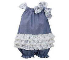 Bonnie Jean Girls Blue Chambray Lace Ruffle Spring Summer Bubble Dress 2T New