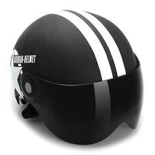 Schwarz Jethelm Motorradhelm Roller Chopper Helm Halbschale mit Sonnenvisier