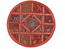 Red Round Lounge Floor Pillow Cover - Sari Patchwork Big Living Room Cushion 26""